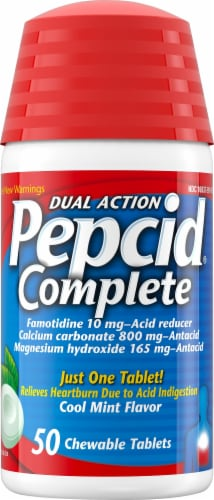 Pepcid Complete Dual Action Acid Reducer + Antacid Cool Mint Chewable Tablets Perspective: front