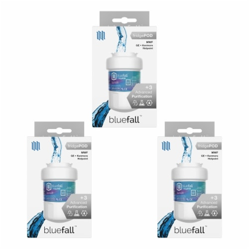 Bluefall GE MWF SmartWater Refrigerator Compatible Water Filter x 3 PACK Perspective: front