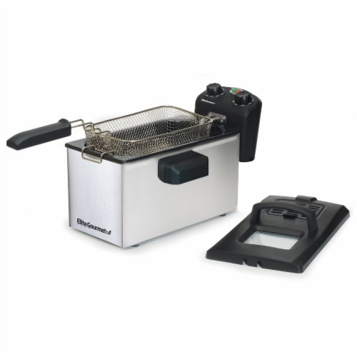 Elite Gourmet Stainless Steel Immersion Deep Fryer Perspective: front