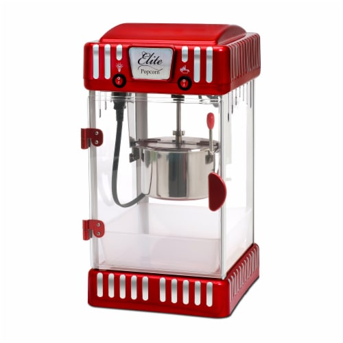 Elite Classic Tabletop Kettle Popcorn Maker - Red Perspective: front