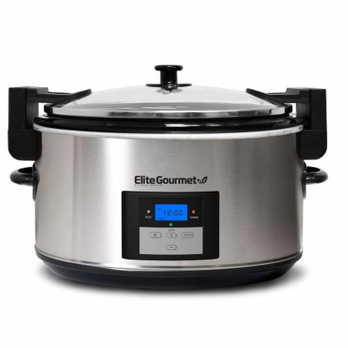 Elite Gourmet Stainless Steel Slow Cooker - Silver Perspective: front