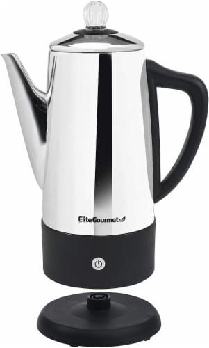 Elite Platinum Stainless Steel 12-Cup Percolator Perspective: front