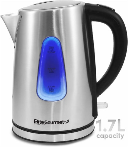 Elite by Maxi-Matic Cordless Electric Kettle - Silver/Black Perspective: front