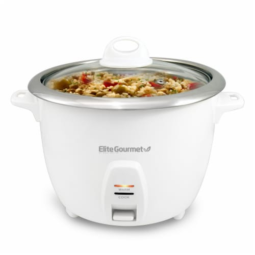 Elite Cuisine ERC-2010 10 Cup Gourmet Rice Cooker with Stainless Steel Cooking Pot Perspective: front