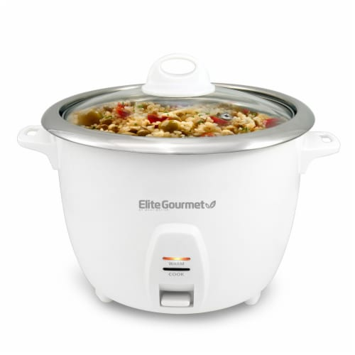 Elite Gourmet 20 Cup Rice Cooker - White Perspective: front