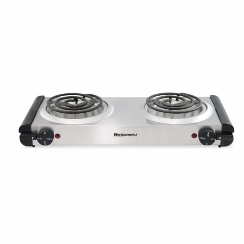 Maximatic Elite Gourmet Electric Double Coil Stainless Steel Hot Plate Perspective: front