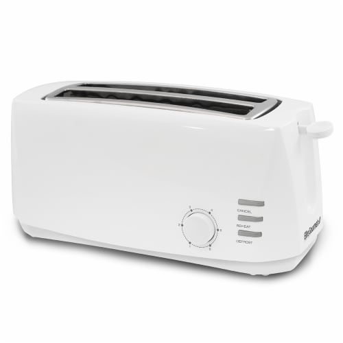 Elite Cuisine 4-Slice Long Slot Cool Touch Toaster - White Perspective: front