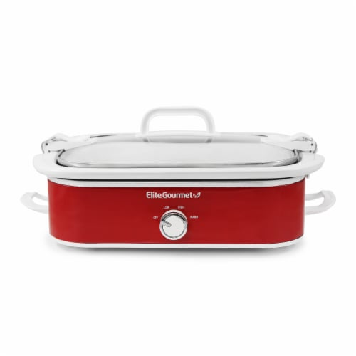 Elite Gourmet Casserole Slow Cooker with Locking Lid - Red Perspective: front