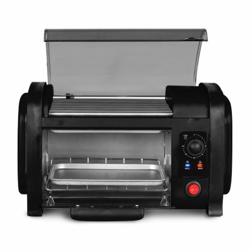 Elite Gourmet Hot Dog Roller & Toaster Oven - Black Perspective: front