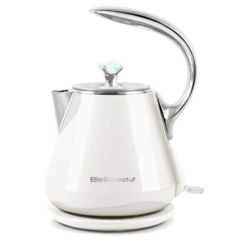 Elite Gourmet Platinum Collection Stainless Steel Cool-Touch Electric Kettle - White Perspective: front