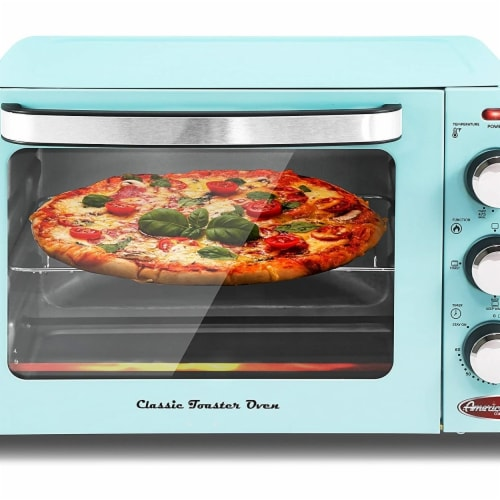 Elite by Maxi-Matic Americana Retro Toaster Oven - Blue Perspective: front