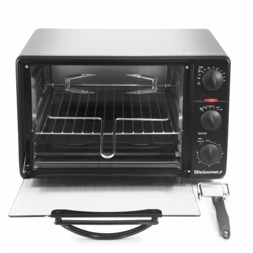 Elite Gourmet Toaster Oven Broiler with Rotisserie - Silver/Black Perspective: front