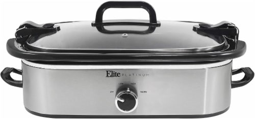 Elite Gourmet Stainless Steel Casserole Slow Cooker with Locking Lid - Silver/Black Perspective: front