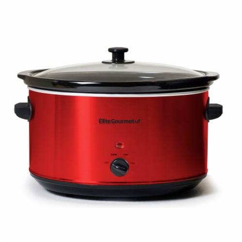 Elite Gourmet Stainless Steel Slow Cooker - Red Perspective: front