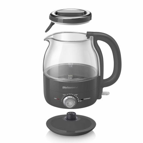 Elite Gourmet Electric Honeypot Glass Kettle - Gray Perspective: front