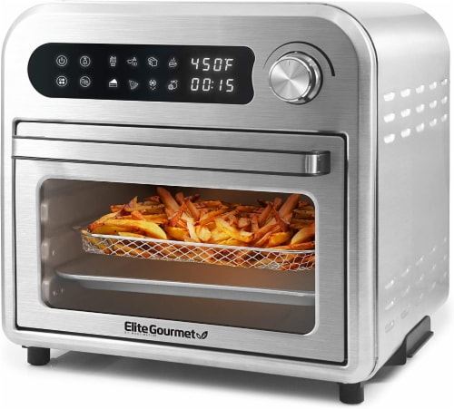 Elite Gourmet Stainless Steel Infinite-Use Air Fryer Oven Perspective: front