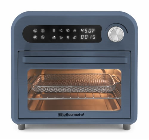 Elite Gourmet Infinite-Use Air Fryer Oven - Slate Blue Perspective: front