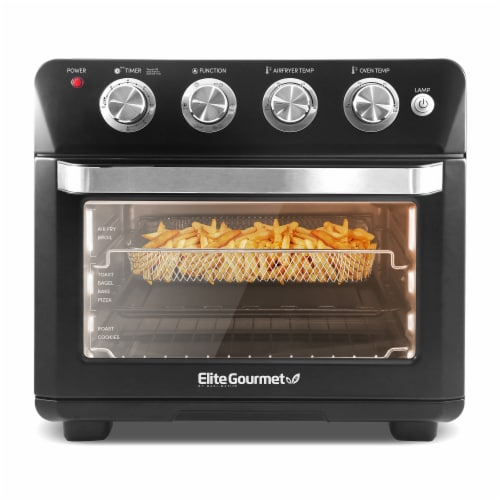 Elite Gourmet X-Large 25L Air Fryer Oven with Interior Light, Black Perspective: front