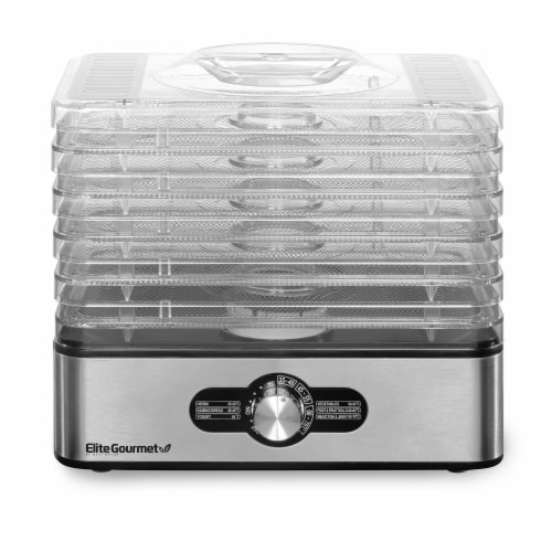 Elite Gourmet 5-Stainless Steel Tray Food Dehydrator Perspective: front