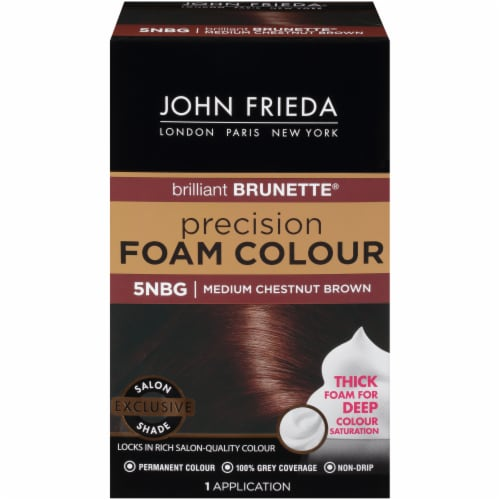 John Frieda 5NBG Chestnut Brown Medium Precision Foam Hair Color Perspective: front