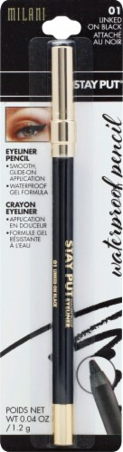 Milani Stay Put 01 Linked on Black Waterproof Eyeliner Pencil Perspective: front