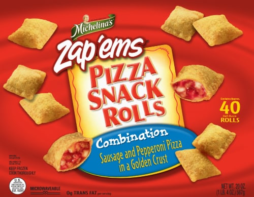 Michelina's Zap'em's Combination Pizza Snack Rolls Perspective: front