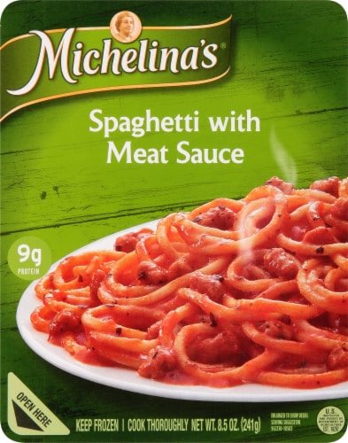 Michelina's Authentico Spaghetti with Meat Sauce Frozen Meal Perspective: front