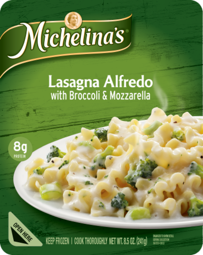 Michelina's Lasagna Alfredo with Broccoli & Mozzarella Perspective: front