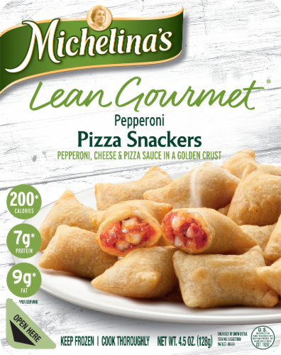 Michelina's Lean Gourmet Pepperoni Pizza Snackers Perspective: front