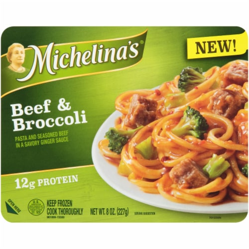 Michelina's Beef & Broccoli With Pasta Frozen meal Perspective: front