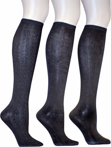 Legale Women's Cable and Flat Knit-Knee High Socks - 3 Pack - Black Perspective: front