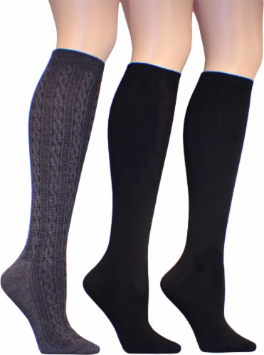 Legale Women's Cable and Flat Knit-Knee High Socks - 3 Pack - Gray/Black Perspective: front