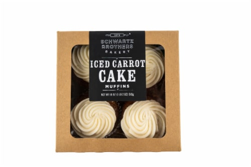 Schwartz Brothers Bakery Iced Carrot Cake Muffins 4 Count Perspective: front
