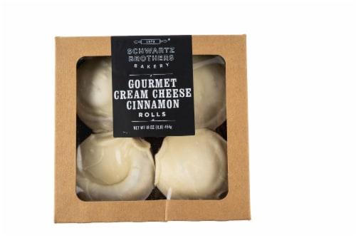 Schwartz Brothers Bakery Kosher Gourmet Cream Cheese Cinnamon Rolls 4 Count Perspective: front