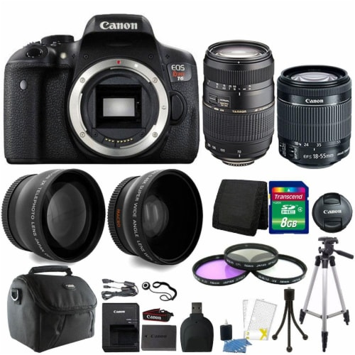 Canon Eos Rebel T6 18mp Dslr Camera With 18-55mm Is Stm Lens , 70-300mm Lens And Accessories Perspective: front
