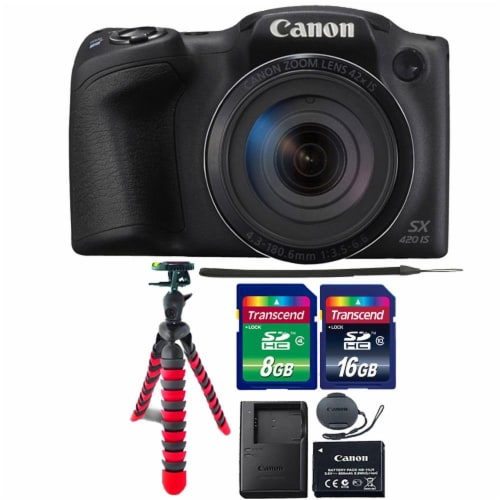 Canon Powershot Sx420 Is 20mp Digital Camera (black) With 8gb Accessory Kit Perspective: front