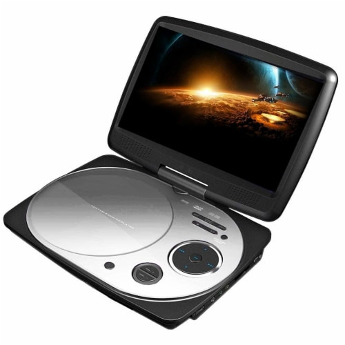 Impecca 9 Inch Swivel Screen Portable Dvd Player White Perspective: front