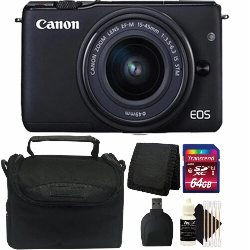 Canon Eos M10 Mirrorless Digital Camera + Ef-m 15-45mm Lens + 64gb Accessory Kit Perspective: front