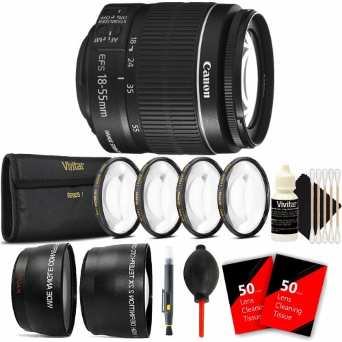 Canon Ef-s 18-55mm F/3.5-5.6 Is Ll Lens With Ultimate Accessory Bundle For Canon Dslr Cameras Perspective: front