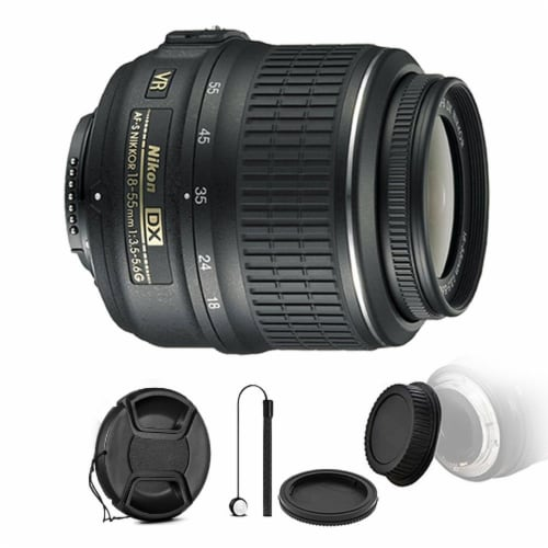 Nikon Af-p Dx Nikkor 18-55mm F/3.5-5.6g Vr Lens With Accessories For Nikon Dslr Cameras Perspective: front