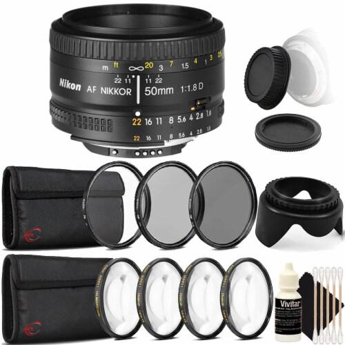 Nikon Af Nikkor 50mm F/1.8d Lens For Nikon Dslr Cameras With Accessory Bundle Perspective: front