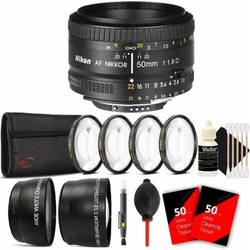 Nikon Af Nikkor 50mm F/1.8d Lens For Nikon D7000 , D7100 , D7200 And D7500 With Accessories Perspective: front