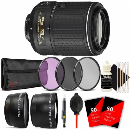 Nikon Af-s Dx Nikkor 55-200mm Vr Ll Lens With Accessories For Nikon D7100 And 7200 Perspective: front