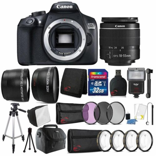 Canon Eos 1300d / Rebel T6 18mp Dslr Camera With 18-55mm Iii Lens And Accessory Bundle Perspective: front