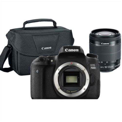 Canon Eos 760d 24.2mp Dslr Camera With 18-55mm Lens + Gadget Bag Perspective: front