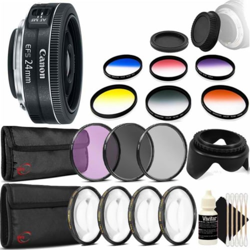 Canon Ef-s 24mm F/2.8 Stm Lens With Accessories For Canon Eos Rebel T3, T3i, T5, T5i, And Sl1 Perspective: front