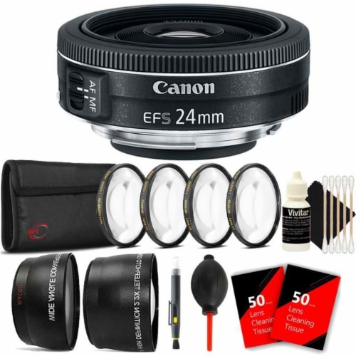 Canon Ef-s 24mm F/2.8 Stm Lens With Accessory Bundle For Canon 80d, 77d And 70d Perspective: front