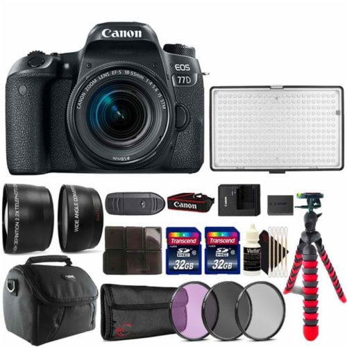 Canon Eos 77d 24.2mp Dslr Camera With 18-55mm Lens ,288 Led Video Light And Accessory Kit Perspective: front