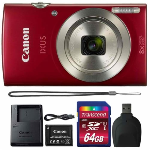 Canon Ixus 185 / Elph 180 20mp Digital Camera Red With 64gb Memory Card Perspective: front