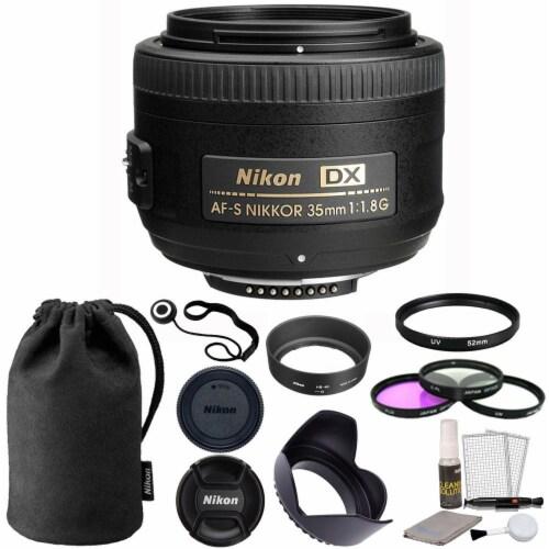 Nikon Af-s Dx Nikkor 35mm F/1.8g Lens With Accessories For Nikon Digital Slr Cameras Perspective: front